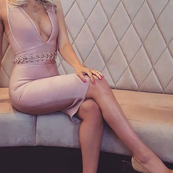 Pink Lady Sleeveless Blush Pink Plunge V Neck Chain Lace Waist X Back Bodycon Bandage Mini Dress