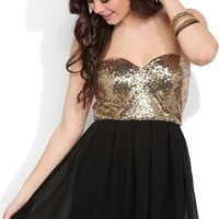 Strapless Dress with Gold Sequin Bodice