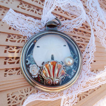 Necklace Sand Dollar Beach Collage Silver White