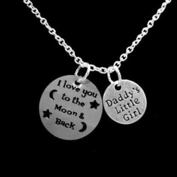 I Love You To The Moon And Back Daddy's Little Girl Daughter Gift Necklace