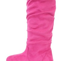 Neon Pink Slouchy Mid Calf Casual Boots Faux Suede