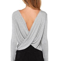 Maykool Women's Sexy Crossover Draped V Back Backless Long Sleeve T-shirt