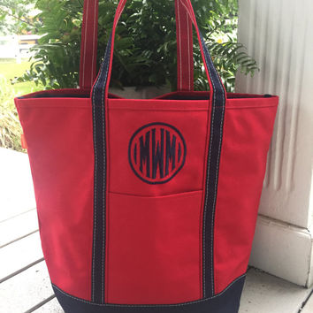Monogrammed Canvas Open Tall Boat Tote
