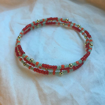 Red, Orange, Light Green Seed Beads/Gold Tone Round Beads/Memory Wire Bracelet