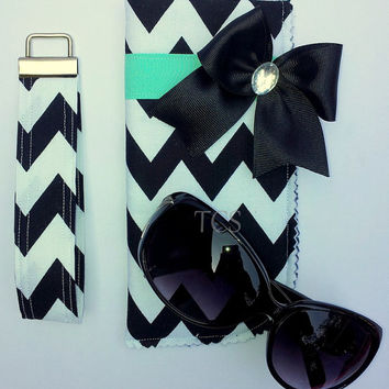 Chevron Black and White Steering Wheel Cover with Bow in your Choice of color