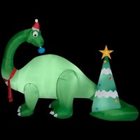 SheilaShrubs.com: Brontosaurus and Christmas Tree Scene 89522 by Gemmy Industries: Christmas Outdoor Decor