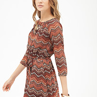 LOVE 21 Southwestern Print Pleated Dress Brown/Black
