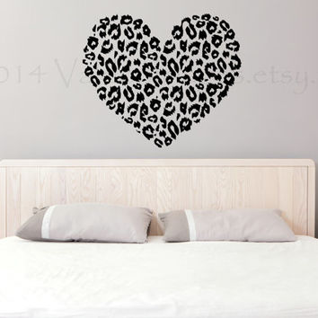 Cheetah Print Heart Wall Decal, Home Decor, Wall Sticker, Wall Graphic,  Decal