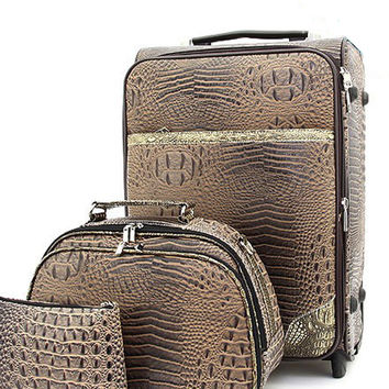 Bronze & Brown Faux Alligator Print Rolling Luggage, Train & Travel Sling