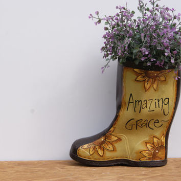 Rain Boot Garden Decor Planter Hand Painted Country Home Decor Sunflower Boot Planter Spring Decor Amazing Grace Cottage Chic Decor