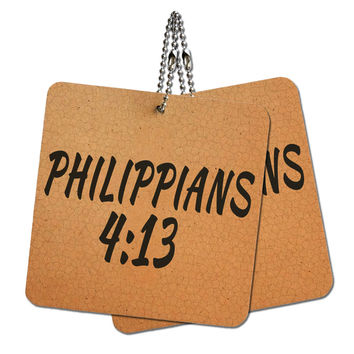 """Bible Verse Philippians 4-13 Wood MDF 4"""" x 4"""" Mini Signs Gift Tags"""
