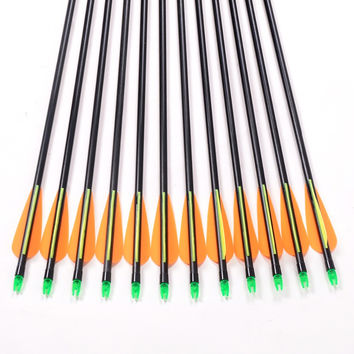 12pc Fiberglass Arrow 30 inches Length Spine 500 for 30-60lbs Compound Bow Recurve Bow Archery Shooting and Hunting