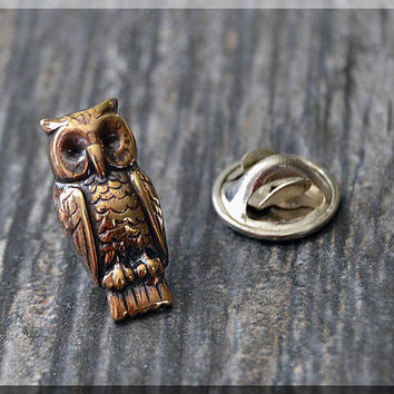 Brass Owl Tie Tac, Bird Lapel Pin, Barn Owl Brooch, Gift for Him, Gift Under 10 Dollars, Tie Tack, Bird Gift, Nature Lapel Pin