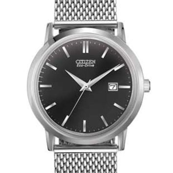Citizen Eco-Drive Mens Mesh Watch - Stainless Steel - Black Dial - Date