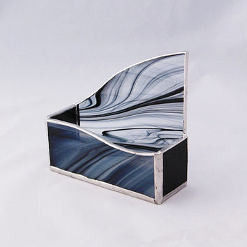 Stained Glass Business Card Holder--Black, White, and Clear Swirl