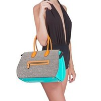 Janiko Color Block Leather & Tweed Satchel Made in Germany - Janiko Luxury Shoes & Handbags, Made in Germany - Modnique.com