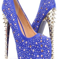 ROYAL BLUE FAUX SUEDE MULTICOLOR GEMSTONE STUD ACCENT SPIKED HIGH HEEL PUMPS