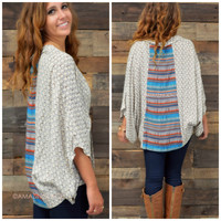Boulder View Brown Printed Kimono Sweater Top