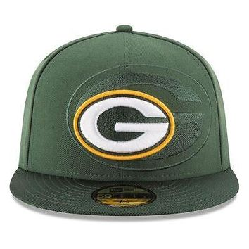Green Bay Packers Hat Fitted Men's 59FIFTY Official Sideline Green New Era