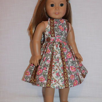 2 piece set! pink, floral halter dress with matching belt, 18 inch doll clothes, american girl, maplelea
