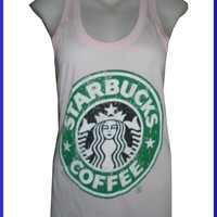 LADY TOPS SHIRT STARBUCKS COFFEE CASUAL SOFT COTTON FREE SZ VINTAGE PRINT NEW