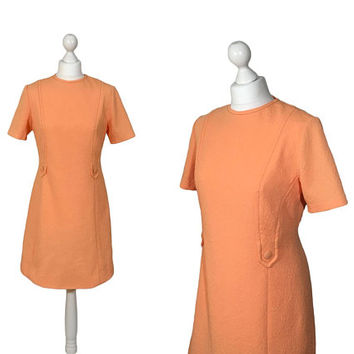 Vintage Mini Dress | Late 60s, Early 70s | Pale Tangerine Orange Vintage Dress | Crimplene Dress | Size UK 12/14