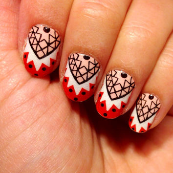 Real nail polish strips. Half moon tribal nail decal wraps
