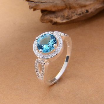 Pretty 925 Silver Round Cut Blue Jewelry Rhinestone Aquamarine & Topaz Wedding Ring Sz 6/7/8/9 = 1932551876