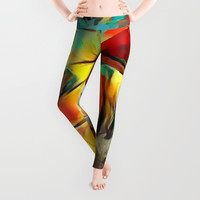 Red forest, colorful sky view, abstract warm artwork, red and yellow colors, nature themed pattern Leggings by Casemiro Arts - Peter Reiss