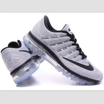 """NIKE"" Trending Air Max Toe Cap hook section knited Fashion Casual Sports Shoes Grey (black lace up hook) transparent soles"