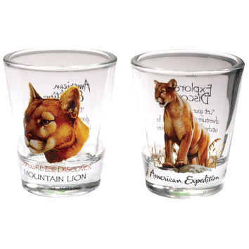 Two Piece Mountain Lion Shot Glass Set