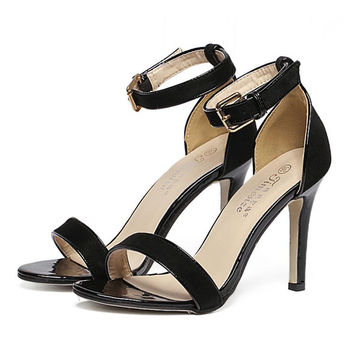 High-Heeled Sandals  PU Leather Ankle Buckle