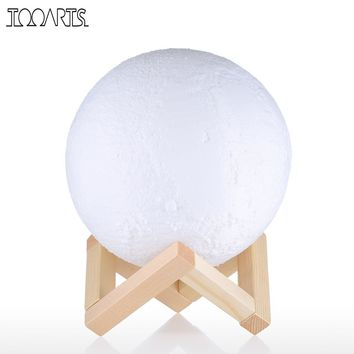 Tooarts Moon Lamp 3D Printed Lamp Modern Sculpture 100-240V 50/60Hz Artwork Lunar Decor Favor Gift Home Decoration