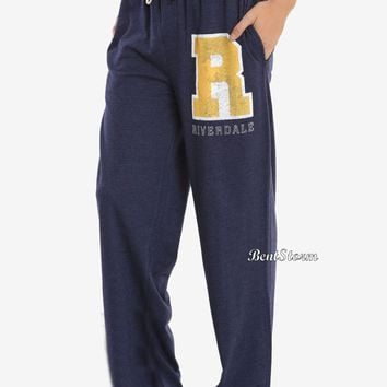 Licensed cool Riverdale Varsity Logo Guys Pajama Lounge Pants Hot Topic Exclusive Men's M & L