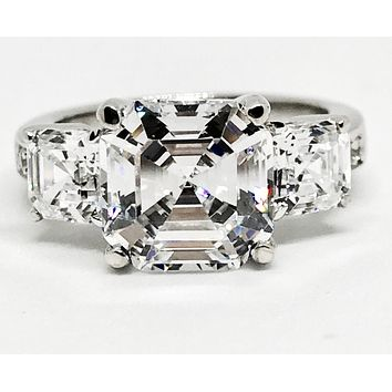 A Perfect 4.22CT Asscher Cut Russian Lab Diamond Engagement Ring