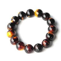 Black brown yellow bead bracelet - Tortoise shell  Adjustable