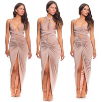 Beige Halter Wrap Ruched Slit Bodycon Maxi Dress