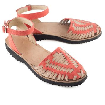 c20ec3722d8a Women s Fire Coral Strapped Woven Leather Huarache Sandals