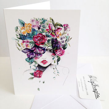 Greeting card of original illustration, 'Flower Fro II', by Holly Sharpe // fashion illustration // watercolour