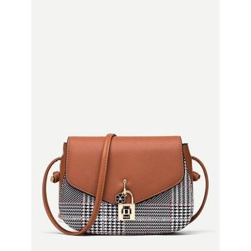 Twist Lock Detail Plaid Shoulder Bag