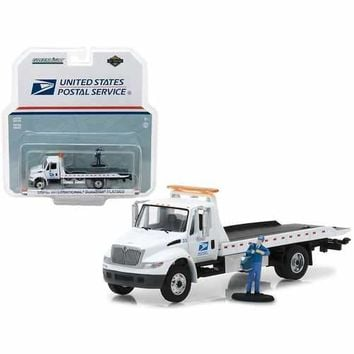 2013 International Flatbed Durastar Tow Truck USPS with Mailman Figure HD Trucks Series 11 1/64 Diecast Model by Greenlight