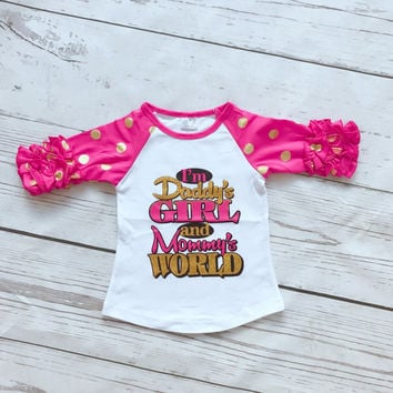 Daddy's Girl and Mommy's World  girls 3/4 sleeve boutique top with polka-dots and ruffles!