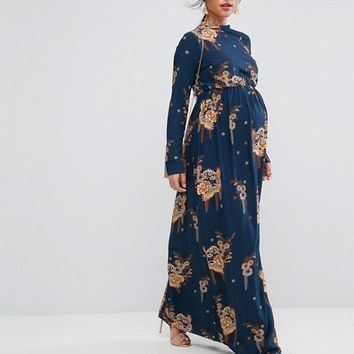 ASOS Maternity PETITE Maxi Dress with Long Sleeve in Chinoiserie Print at asos.com