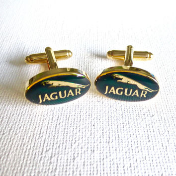 Jaguar Cufflinks Cuff Links Car Emblem Logo English Wedding Groom Groomsmen Fathers Day Gift From Daughter