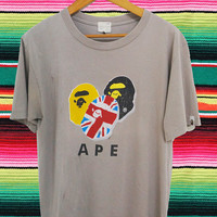 Rare A BATHING APE Baby Milo Multicolour Logo T-shirt Workwear Street Wear Large Used