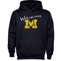 Michigan Wolverines Ladies Signature Mascot Pullover Hoodie - Navy Blue