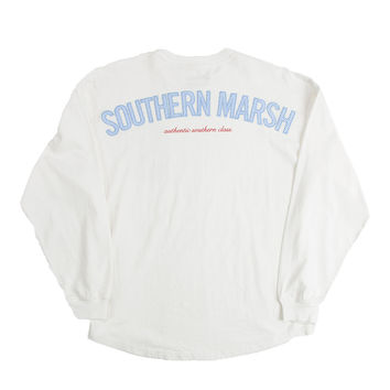 Rebecca Long Sleeve Jersey in White with Light Blue Seersucker Pocket by Southern Marsh