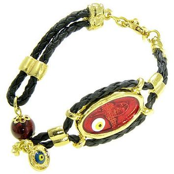 Handcrafted Amulet Evil Eye Protection Large Red Enamel Bracelet