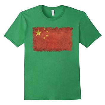 Chinese Flag T-Shirt in Vintage Retro Style