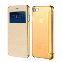 Luxury Open Window View Display Flip Leather Case For iPhone 6 7 6S Plus Coque Clear Back Full Protective Case For iPhone 7 6 6S